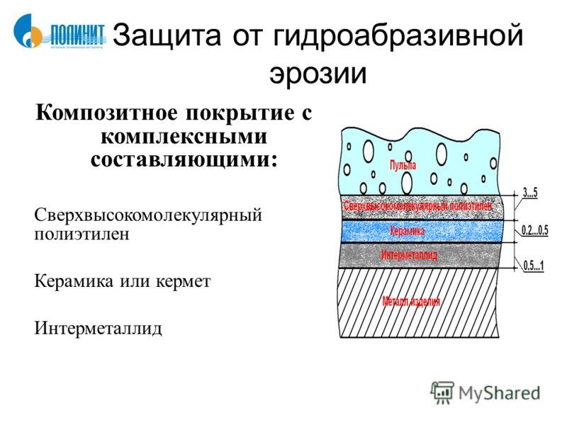 Защита от гидроабразивной эрозии Композитное покрытие с комплексными составляющими: Сверхвысокомолекулярный полиэтилен Керамика или кермет Интерметаллид