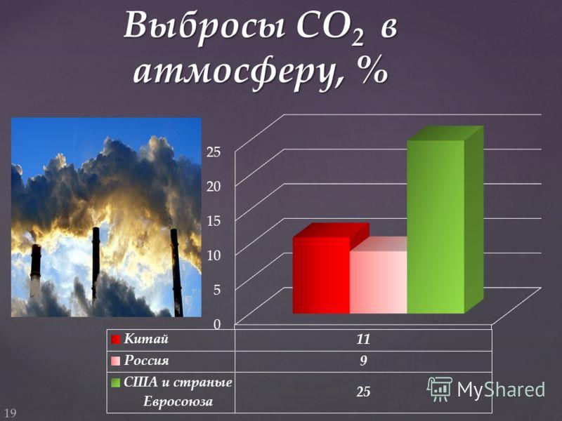 Выбросы СО 2 в атмосферу, % 19
