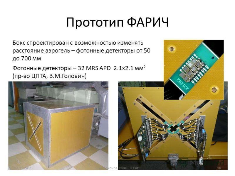 Прототип ФАРИЧ Бокс спроектирован с возможностью изменять расстояние аэрогель – фотонные детекторы от 50 до 700 мм Фотонные детекторы – 32 MRS APD 2.1x2.1 мм 2 (пр-во ЦПТА, В.М.Головин) 23.11.2011С.А. Кононов, ИЯФ СО РАН10