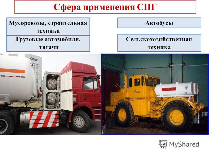 Сфера применения СПГ Грузовые автомобили, тягачи Сельскохозяйственная техника АвтобусыМусоровозы, строительная техника