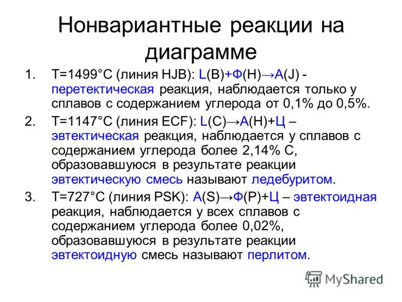 Нонвариантные реакции на диаграмме 1.Т=1499°С (линия HJB): L(B)+Ф(H)A(J) - перетектическая реакция, наблюдается только у сплавов с содержанием углерода от 0,1% до 0,5%. 2.Т=1147°С (линия ECF): L(С)А(H)+Ц – эвтектическая реакция, наблюдается у сплавов