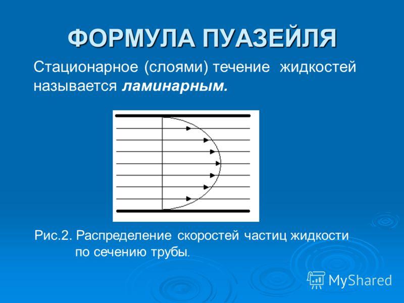 ФОРМУЛА ПУАЗЕЙЛЯ Стационарное (слоями) течение жидкостей называется ламинарным. Рис.2. Распределение скоростей частиц жидкости по сечению трубы.