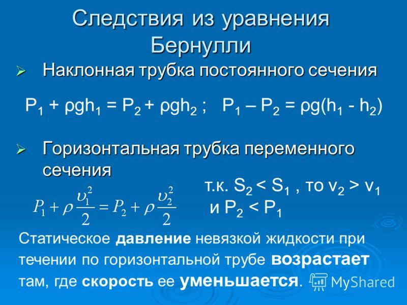 Следствия из уравнения Бернулли Наклонная трубка постоянного сечения Наклонная трубка постоянного сечения Горизонтальная трубка переменного сечения Горизонтальная трубка переменного сечения Р 1 + ρgh 1 = Р 2 + ρgh 2 ; Р 1 – Р 2 = ρg(h 1 - h 2 ) т.к.