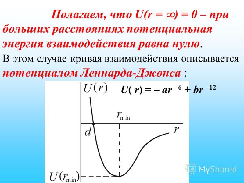 Полагаем, что U(r = ) = 0 – при больших расстояниях потенциальная энергия взаимодействия равна нулю. В этом случае кривая взаимодействия описывается потенциалом Леннарда-Джонса : U( r) = – ar –6 + br –12