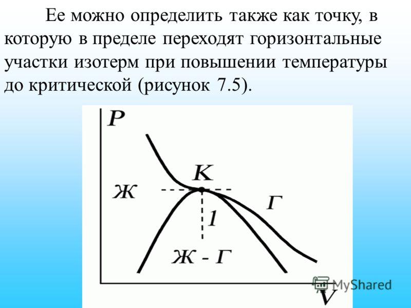 Ее можно определить также как точку, в которую в пределе переходят горизонтальные участки изотерм при повышении температуры до критической (рисунок 7.5).