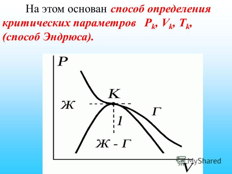 На этом основан способ определения критических параметров P k, V k, Т k, (способ Эндрюса).