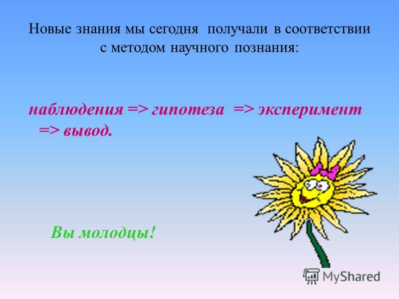 Новые знания мы сегодня получали в соответствии с методом научного познания: наблюдения => гипотеза => эксперимент => вывод. Вы молодцы!