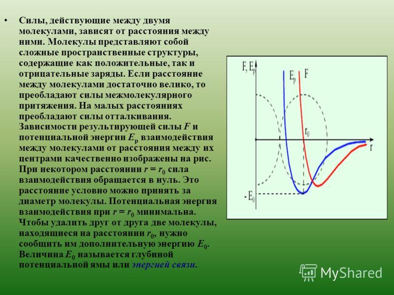 Силы, действующие между двумя молекулами, зависят от расстояния между ними. Молекулы представляют собой сложные пространственные структуры, содержащие как положительные, так и отрицательные заряды. Если расстояние между молекулами достаточно велико,