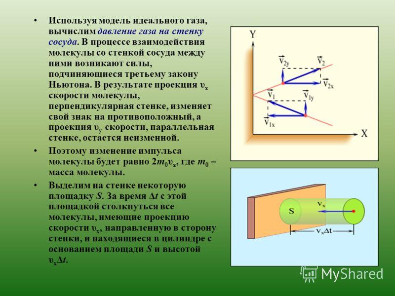 Используя модель идеального газа, вычислим давление газа на стенку сосуда. В процессе взаимодействия молекулы со стенкой сосуда между ними возникают силы, подчиняющиеся третьему закону Ньютона. В результате проекция υ x скорости молекулы, перпендикул
