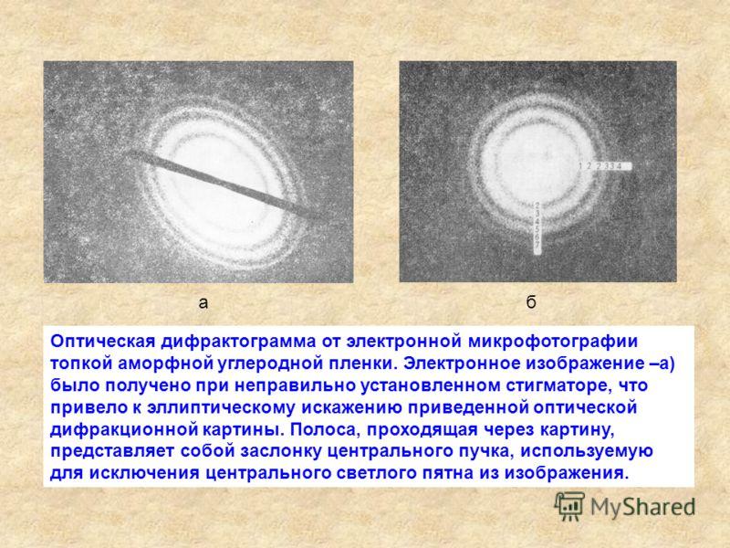 Оптическая дифрактограмма от электронной микрофотографии топкой аморфной углеродной пленки. Электронное изображение –а) было получено при неправильно установленном стигматоре, что привело к эллиптическому искажению приведенной оптической дифракционно