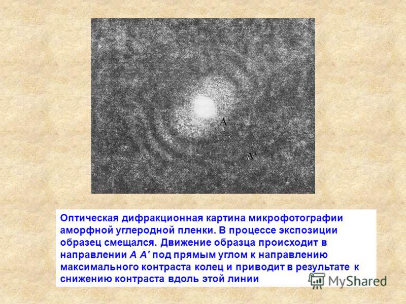 Оптическая дифракционная картина микрофотографии аморфной углеродной пленки. В процессе экспозиции образец смещался. Движение образца происходит в направлении А А' под прямым углом к направлению максимального контраста колец и приводит в результате к