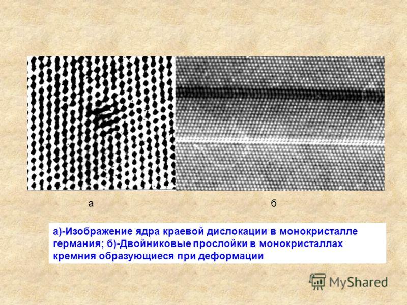 а)-Изображение ядра краевой дислокации в монокристалле германия; б)-Двойниковые прослойки в монокристаллах кремния образующиеся при деформации aб