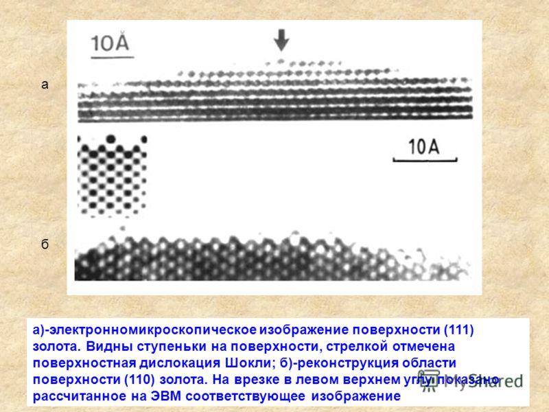 а)-электронномикроскопическое изображение поверхности (111) золота. Видны ступеньки на поверхности, стрелкой отмечена поверхностная дислокация Шокли; б)-реконструкция области поверхности (110) золота. На врезке в левом верхнем углу показано рассчитан
