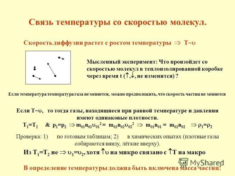 Если T~, то тогда газы, находящиеся при равной температуре и давлении имеют одинаковые плотности. T 1 =T 2 p 1 =p 2 m 01 n 01 01 2 = m 02 n 02 02 2 m 01 n 01 = m 02 n 02 1 = 2 Проверка: 1) по готовым таблицам; 2) в химических опытах (плотные газы соб