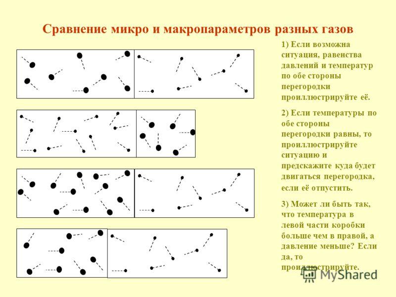 Сравнение микро и макропараметров разных газов 1) Если возможна ситуация, равенства давлений и температур по обе стороны перегородки проиллюстрируйте её. 2) Если температуры по обе стороны перегородки равны, то проиллюстрируйте ситуацию и предскажите