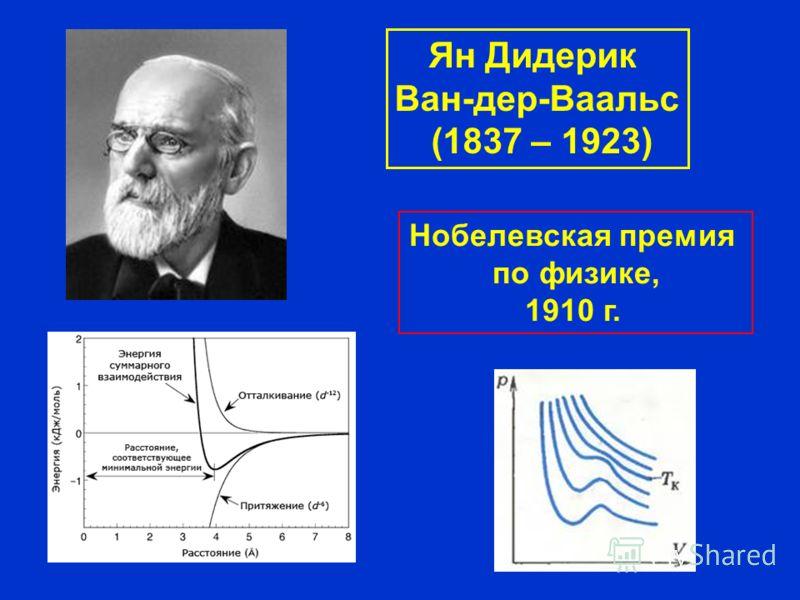 Нобелевская премия по физике, 1910 г. Ян Дидерик Ван-дер-Ваальс (1837 – 1923)