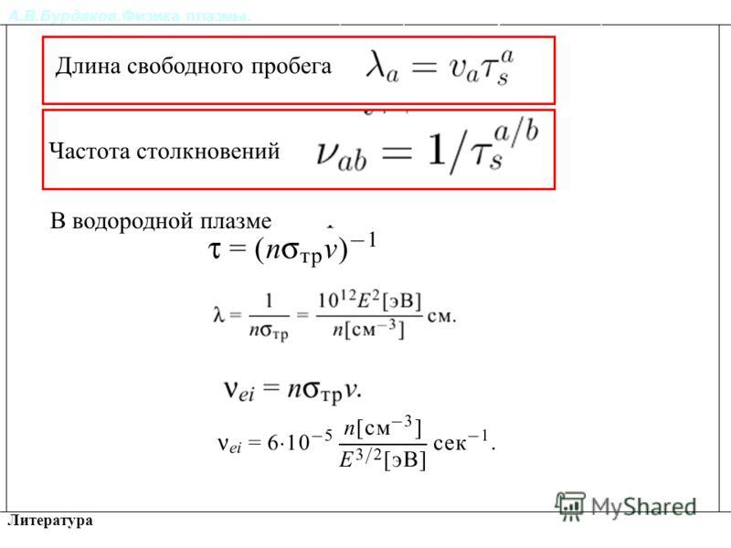 А.В.Бурдаков.Физика плазмы. Литература Релаксация импульса и энергии частиц в плазме. Длина свободного пробега Частота столкновений В водородной плазме