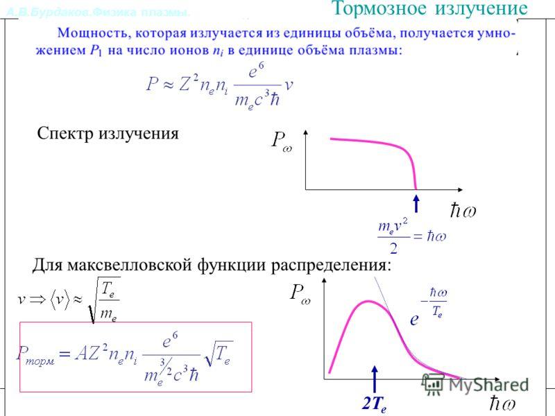 А.В.Бурдаков.Физика плазмы. Литература Излучение из плазмы. Тормозное излучение Спектр излучения Для максвелловской функции распределения: 2Te2Te