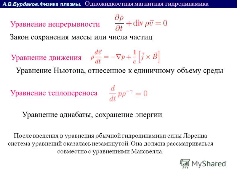 А.В.Бурдаков.Физика плазмы. Уравнение непрерывности Одножидкостная магнитная гидродинамика Закон сохранения массы или числа частиц Уравнение движения Уравнение Ньютона, отнесенное к единичному объему среды Уравнение адиабаты, сохранение энергии Уравн