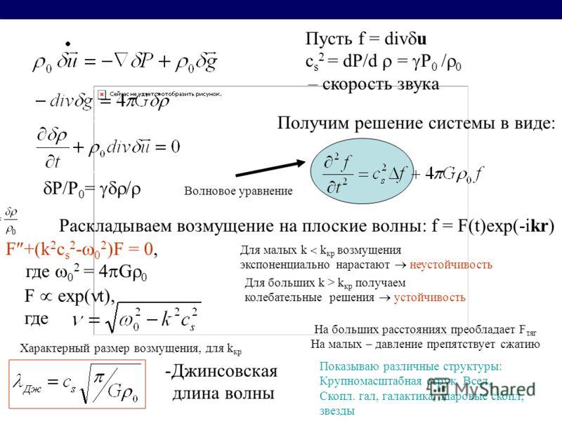 P/P 0 = / Пусть f = div u c s 2 = dP/d = P 0 / 0 – скорость звука Получим решение системы в виде: Волновое уравнение Раскладываем возмущение на плоские волны: f = F(t)exp(-ikr) F +(k 2 c s 2 - 0 2 )F = 0, где 0 2 = 4 G 0 F exp( t), где Для малых k k