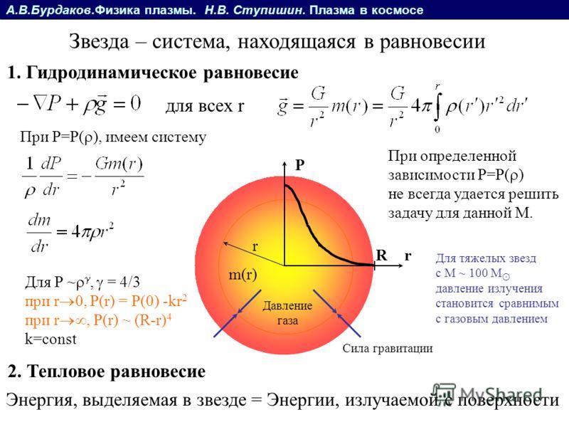 А.В.Бурдаков.Физика плазмы. Н.В. Ступишин. Плазма в космосе Звезда – система, находящаяся в равновесии 1. Гидродинамическое равновесие 2. Тепловое равновесие Энергия, выделяемая в звезде = Энергии, излучаемой с поверхности для всех r При определенной