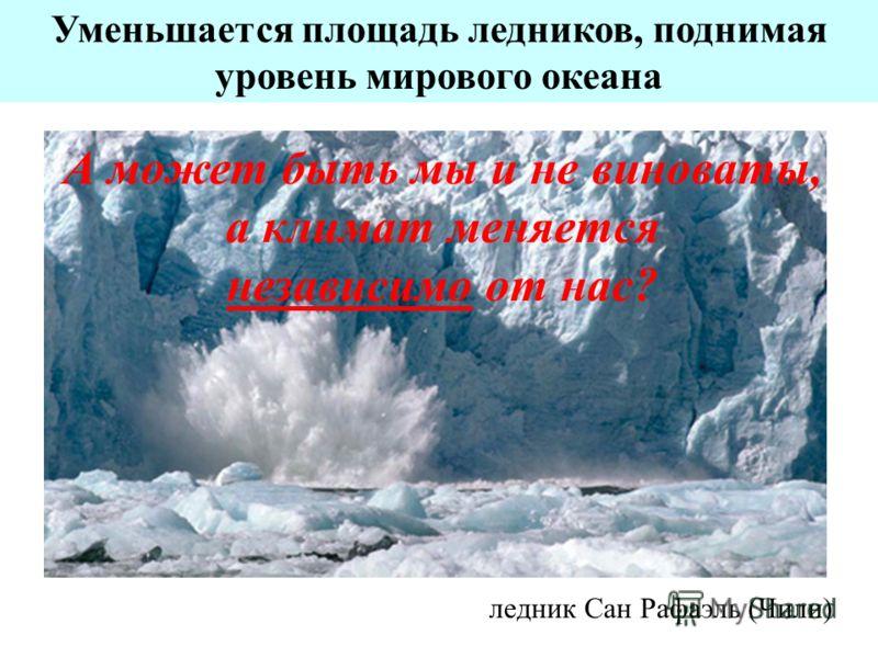 Уменьшается площадь ледников, поднимая уровень мирового океана ледник Сан Рафаэль (Чили) А может быть мы и не виноваты, а климат меняется независимо от нас?