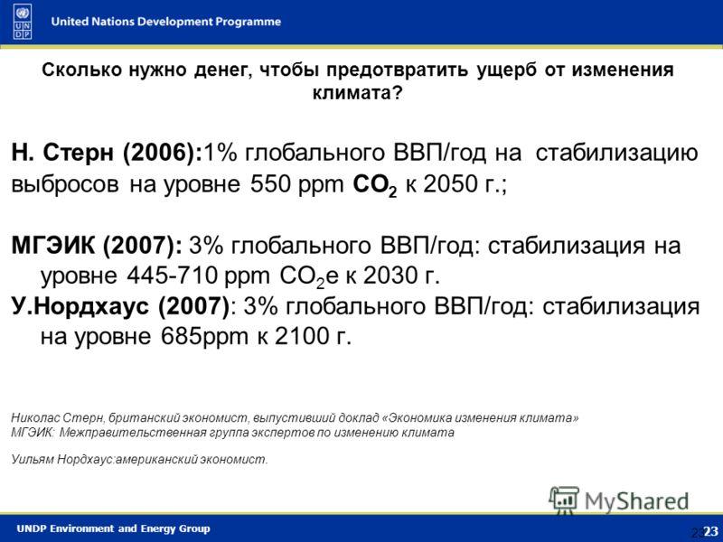 UNDP Environment and Energy Group 22 Выбросы парниковых газов Воздействия изменения климата Глобальное изменение климата: изменение средней глобальной температуры, изменение региональной температуры, осадков, давления, циркуляции и т.д. Смягчение: со