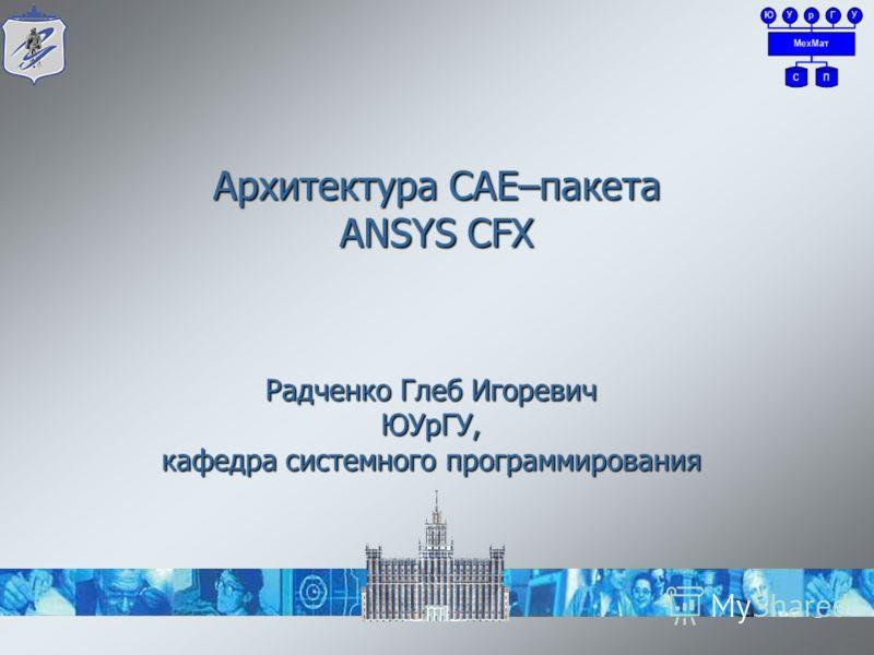 Архитектура CAE–пакета ANSYS CFX 1 Радченко Глеб Игоревич ЮУрГУ, кафедра системного программирования
