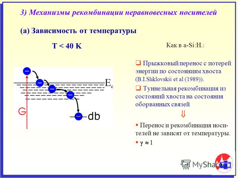 3) Механизмы рекомбинации неравновесных носителей (а) Зависимость от температуры Как в a-Si:H.: Прыжковый перенос с потерей энергии по состояниям хвоста (В.I.Shklovskii et al (1989)). Туннельная рекомбинация из состояний хвоста на состояния оборванны