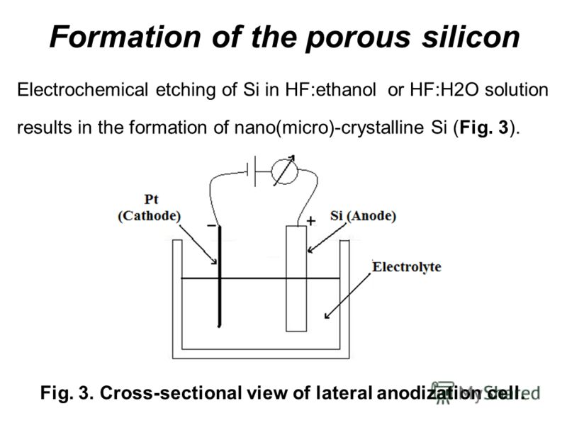 Formation of the porous silicon Fig. 3. Cross-sectional view of lateral anodization cell. Electrochemical etching of Si in HF:ethanol or HF:H2O solution results in the formation of nano(micro)-crystalline Si (Fig. 3).
