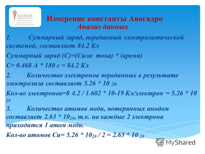 Анализ данных 1. Суммарный заряд, переданный электролитической системой, составляет 84.2 Кл Суммарный заряд (С)=(Сила тока) * (время) С= 0.468 А * 180 с = 84.2 Кл 2.Количество электронов переданных в результате электролиза составляет 5.26 * 10 20 Кол