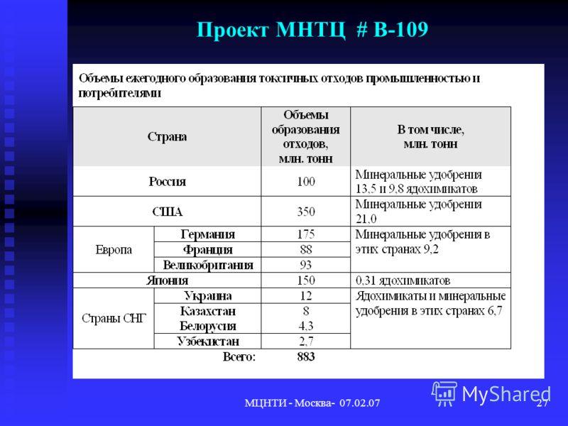 МЦНТИ - Москва- 07.02.0727 Проект МНТЦ # В-109