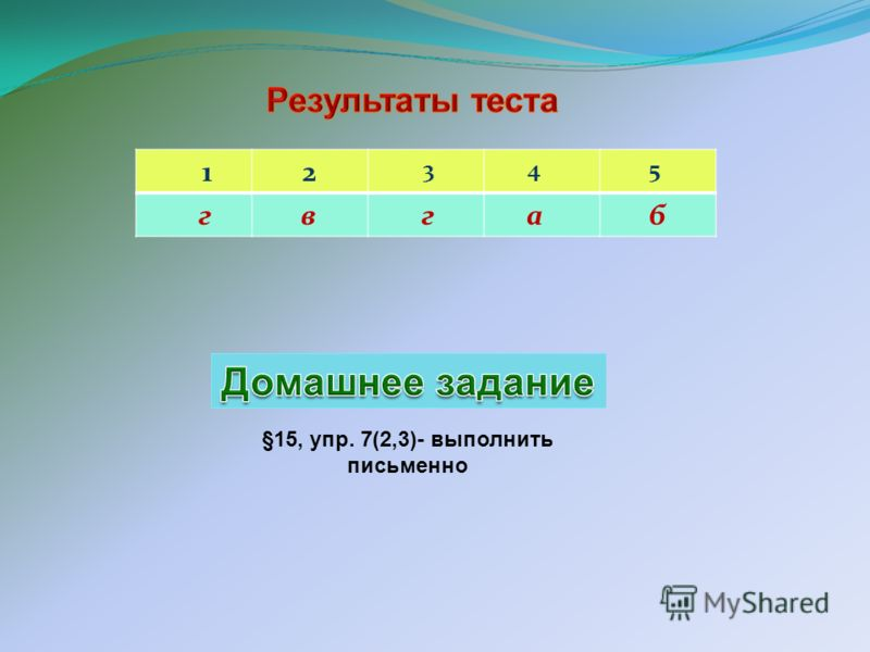 1 2 3 4 5 г в г а б §15, упр. 7(2,3)- выполнить письменно