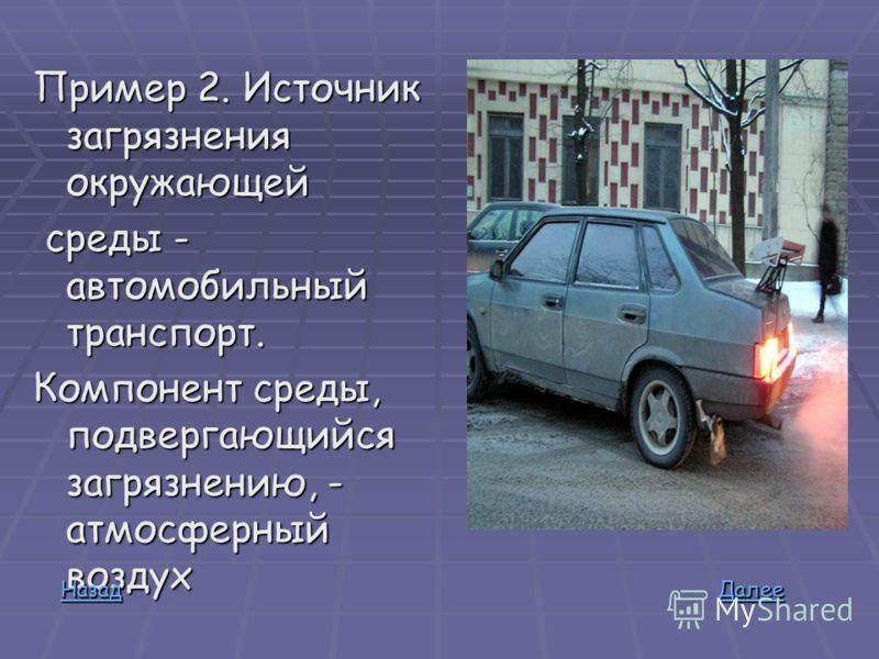 Пример 2. Источник загрязнения окружающей среды - автомобильный транспорт. Компонент среды, подвергающийся загрязнению, - атмосферный воздух ДДДД аааа лллл ееее ееее НННН аааа зззз аааа дддд