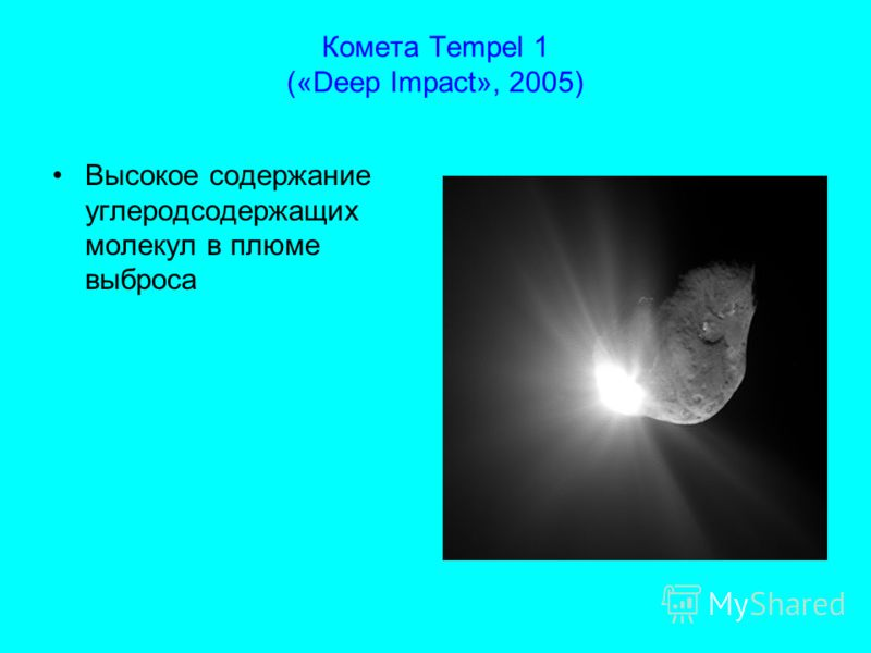 Комета Tempel 1 («Deep Impact», 2005) Высокое содержание углеродсодержащих молекул в плюме выброса