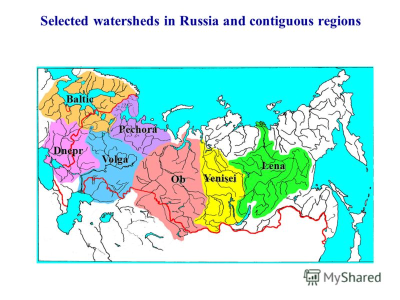 Selected watersheds in Russia and contiguous regions Lena Ob Yenisei Pechora Volga Baltic Dnepr
