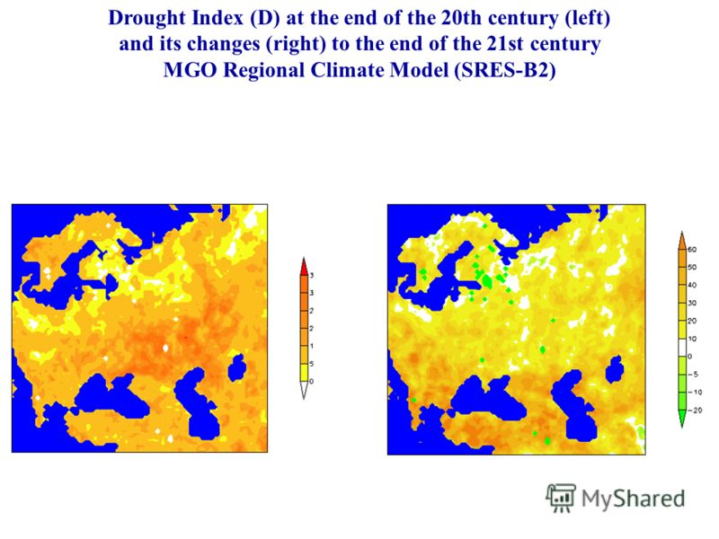 Drought Index (D) at the end of the 20th century (left) and its changes (right) to the end of the 21st century MGO Regional Climate Model (SRES-B2)