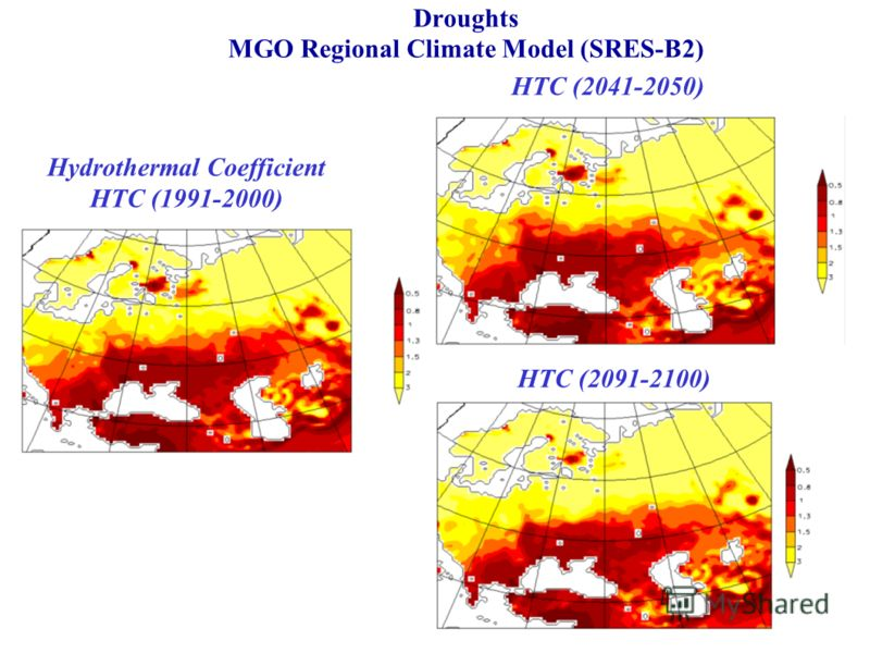 Droughts MGO Regional Climate Model (SRES-B2) Hydrothermal Coefficient HTC (1991-2000) HTC (2041-2050) HTC (2091-2100)