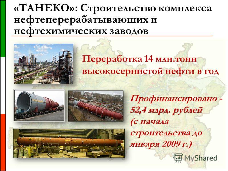 «ТАНЕКО»: Строительство комплекса нефтеперерабатывающих и нефтехимических заводов Переработка 14 млн.тонн высокосернистой нефти в год 52,4 млрд. рублей Профинансировано - 52,4 млрд. рублей (с начала строительства до января 2009 г.)