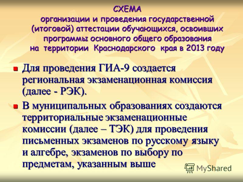 Для проведения ГИА-9 создается региональная экзаменационная комиссия (далее - РЭК). Для проведения ГИА-9 создается региональная экзаменационная комиссия (далее - РЭК). В муниципальных образованиях создаются территориальные экзаменационные комиссии (д