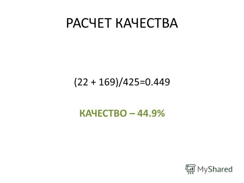 РАСЧЕТ КАЧЕСТВА (22 + 169)/425=0.449 КАЧЕСТВО – 44.9%