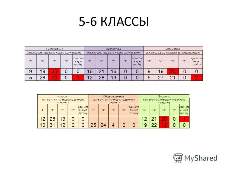 5-6 КЛАССЫ Русский языкЛитератураМатематика кол-во уч-ся, имеющих по данному предмету