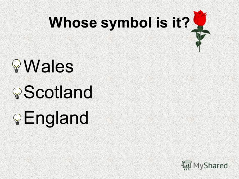 Whose symbol is it? Wales Scotland England