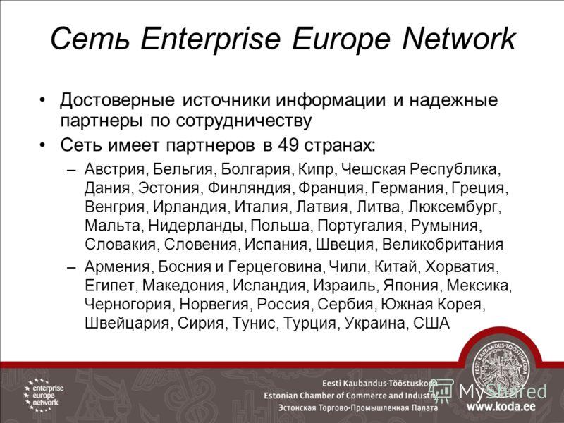 40%39% 55% Сеть Enterprise Europe Network Достоверные источники информации и надежные партнеры по сотрудничеству Сеть имеет партнеров в 49 странах: –Австрия, Бельгия, Болгария, Кипр, Чешская Республика, Дания, Эстония, Финляндия, Франция, Германия, Г