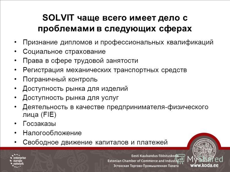 SOLVIT чаще всего имеет дело с проблемами в следующих сферах Признание дипломов и профессиональных квалификаций Социальное страхование Права в сфере трудовой занятости Регистрация механических транспортных средств Пограничный контроль Доступность рын
