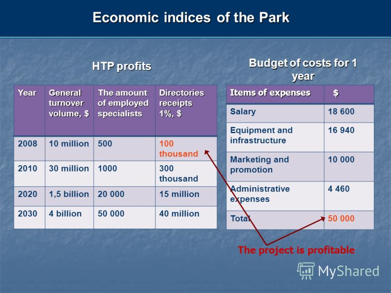 Economic indices of the Park Budget of costs for 1 year The project is profitable HTP profits Year General turnover volume, $ The amount of employed specialists Directories receipts 1%, $ 200810 million500100 thousand 201030 million1000300 thousand 2