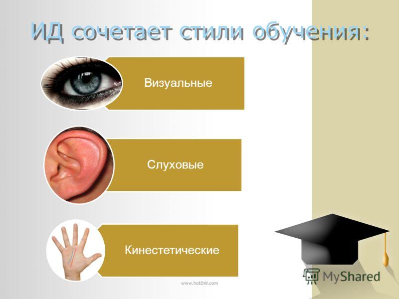 ИД сочетает стили обучения: Визуальные Слуховые Кинестетические