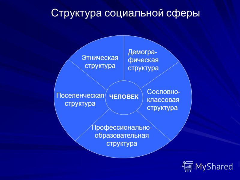 Структура социальной сферы ЧЕЛОВЕК Этническая структура Демогра- фическая структура Сословно- классовая структура Профессионально- образовательная структура Поселенческая структура