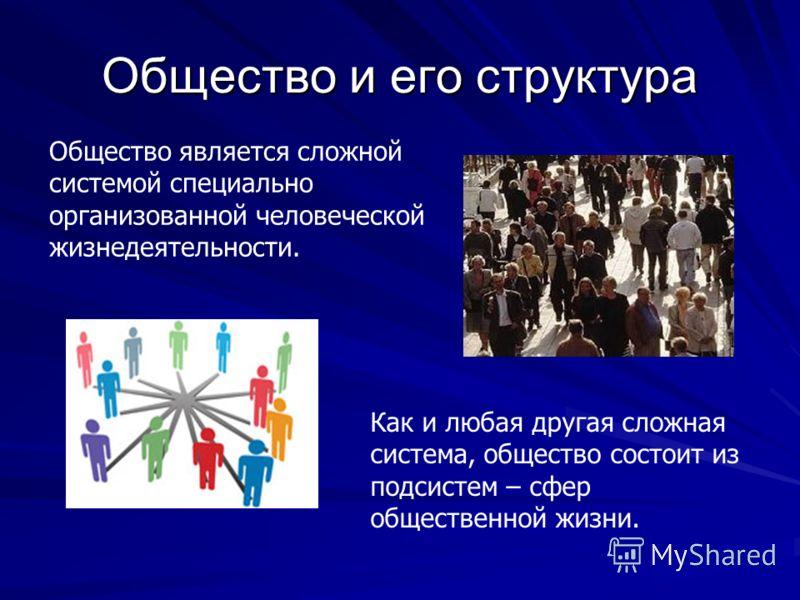 Общество и его структура Общество является сложной системой специально организованной человеческой жизнедеятельности. Как и любая другая сложная система, общество состоит из подсистем – сфер общественной жизни.