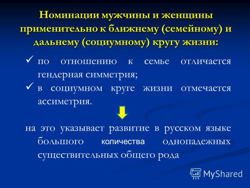 Номинации мужчины и женщины применительно к ближнему (семейному) и дальнему (социумному) кругу жизни: по отношению к семье отличается гендерная симметрия; в социумном круге жизни отмечается ассиметрия. на это указывает развитие в русском языке большо